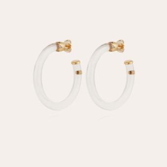 Caftan hoop earrings acetate gold - Clear