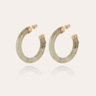 Caftan hoop earrings small size acetate gold - Light green