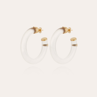 Caftan hoop earrings small size acetate gold - Clear