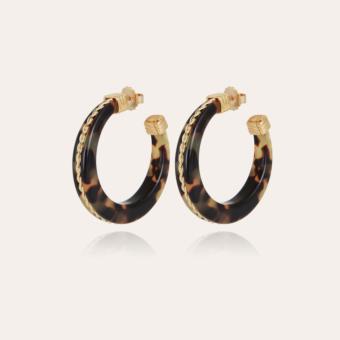 Caftan Torsade hoop earrings small size acetate gold - Tortoise