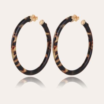 Caftan hoop earrings very large size acetate gold - Tortoise