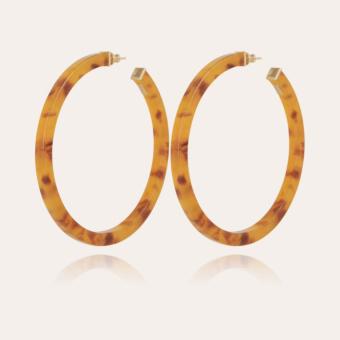Helios simple hoop earrings acetate gold - Beige