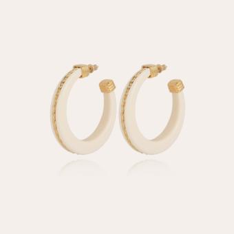 Caftan Torsade hoop earrings small size acetate gold - Ivory