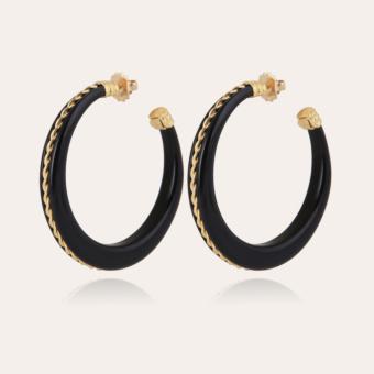 Caftan Torsade hoop earrings acetate gold - Black