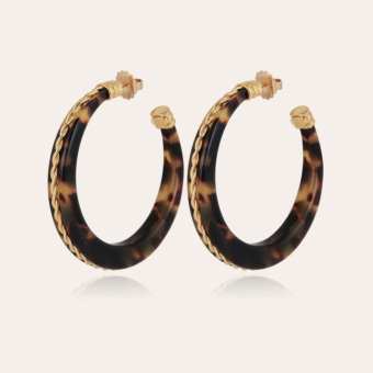 Caftan Torsade hoop earrings acetate gold - Tortoise