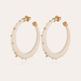 Celeste hoop earrings acetate gold - Ivory