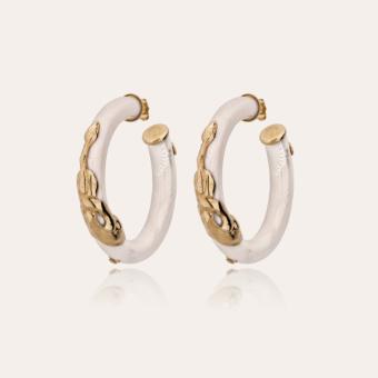 Cobra hoop earrings acetate gold - Ivory