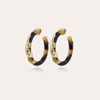 Cobra earrings small size acetate gold - Tortoise