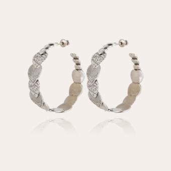 Cuore hoop earrings large size silver