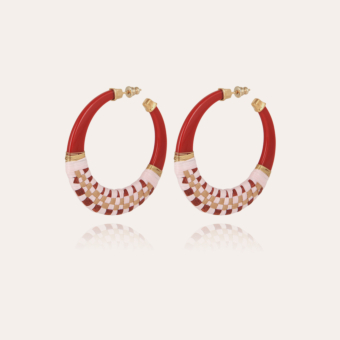 Lodge raffia hoop earrings small size acetate gold - Red