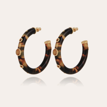 Malika hoop earrings acetate gold - Tortoise