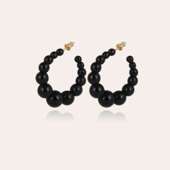 Andy hoop earrings small size acetate gold - Black