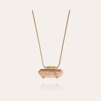 Aventura necklace large size gold - Pink Calcite
