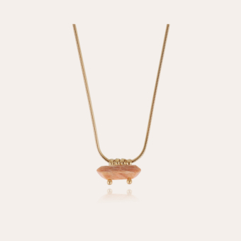 Aventura necklace gold - Pink Calcite