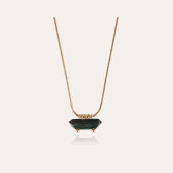 Aventura necklace gold - Green Jaspe