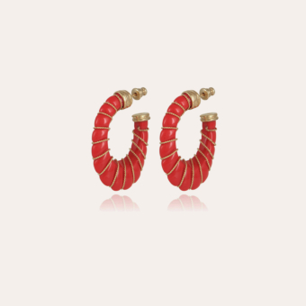 Cyclade earrings small size gold - Coral