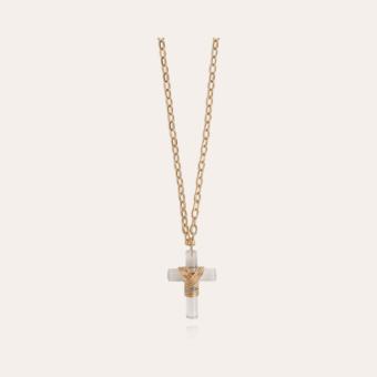 Greek cross long necklace gold