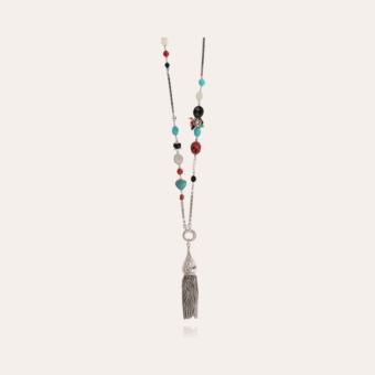 Pompom Bis long necklace silver