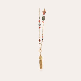 Pompom Bis long necklace gold