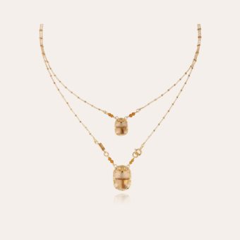 Scaramouche enamel Scapulaire necklace gold