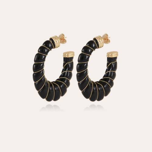 Cyclade earrings large size gold - Black
