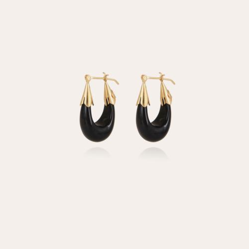Ecume earrings small size gold - Black