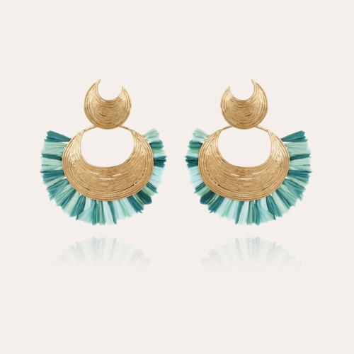 Luna Wave raffia earrings gold