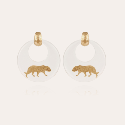 Tiger earrings acetate gold - Clear