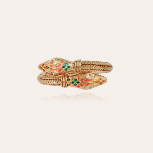 Cobra enamel bracelet gold