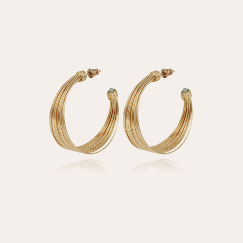 Arpa cabochons hoop earrings small size gold