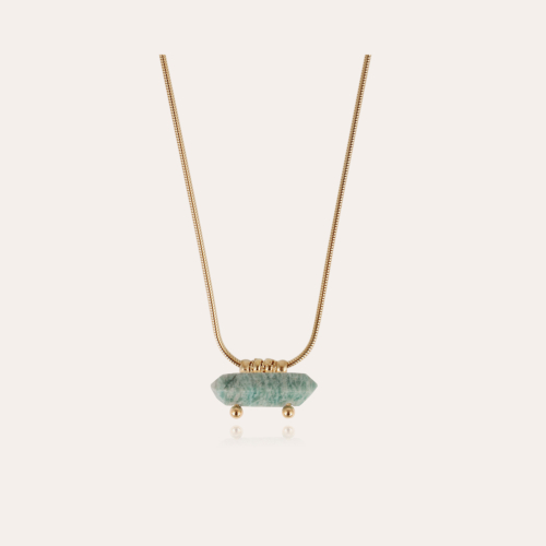 Aventura necklace gold - Amazonite