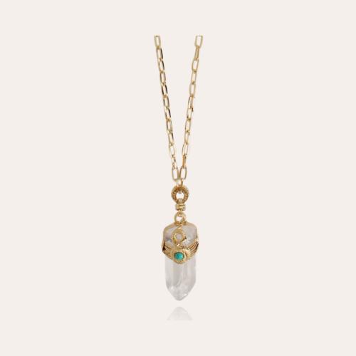 Cristal Serti long necklace large size gold - Rock crystal