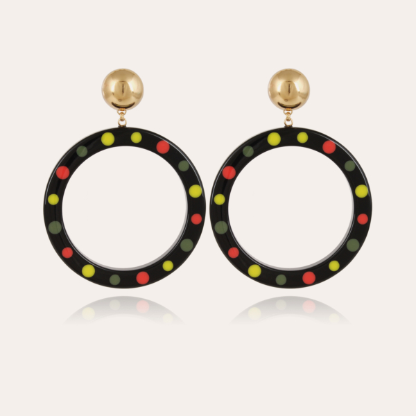 Cocci earrings acetate gold - Black