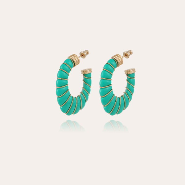 Cyclade earrings small size acetate gold - Turquoise