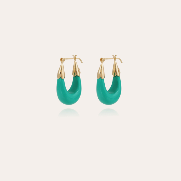 Ecume earrings small size acetate gold - Turquoise