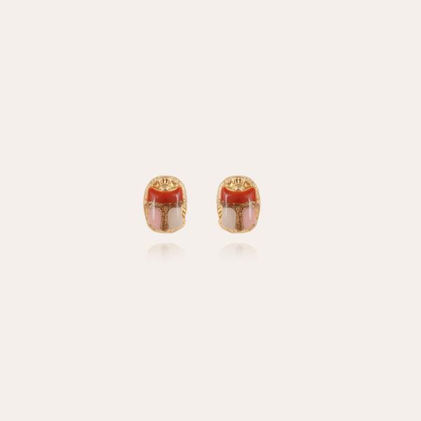Scaramouche enamel studs earrings gold