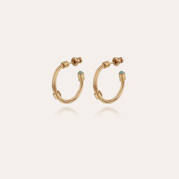 Ariane cabochons hoop earrings mini gold