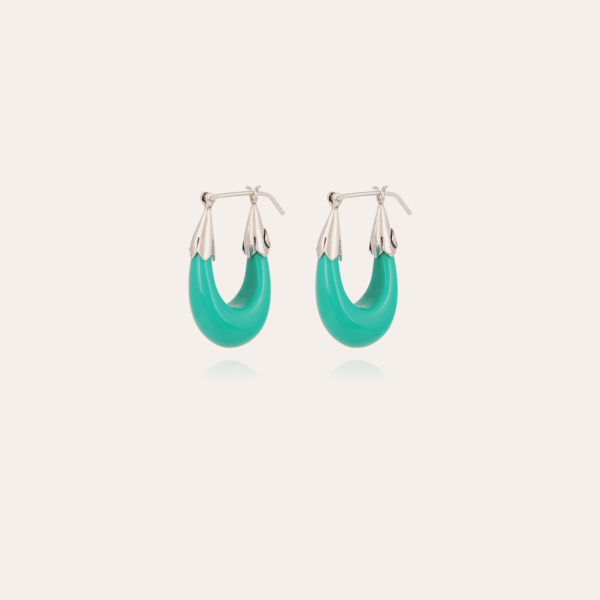 Ecume earrings small size acetate silver - Turquoise