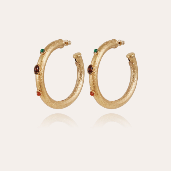 Maoro cabochons hoop earrings small size gold