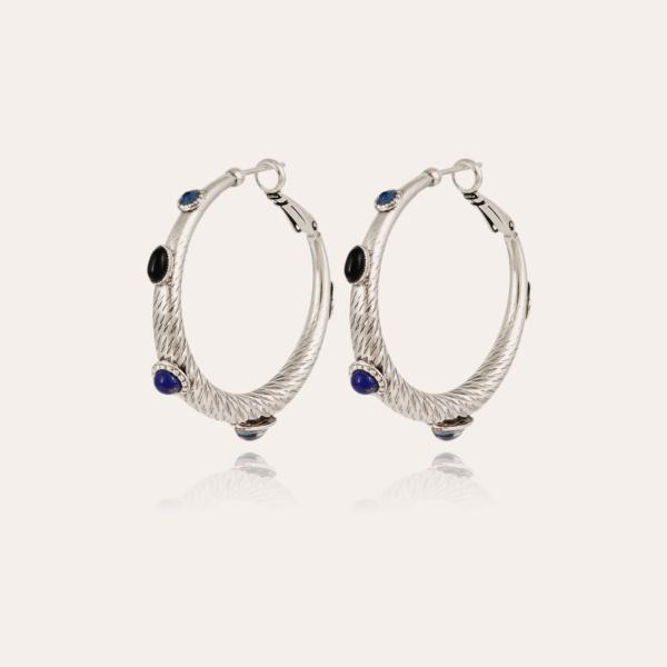 Miza cabochons hoop earrings small size silver