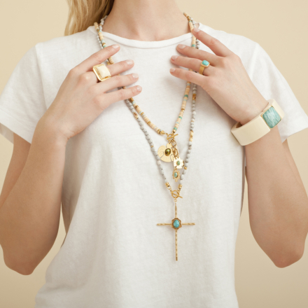 Arty Bis bracelet acetate gold - Ivory - Exclusive piece (3 pieces)
