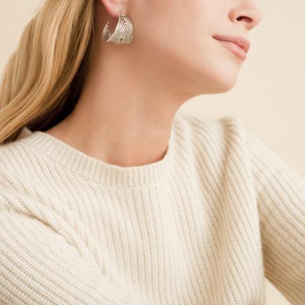 Wave hoop earrings silver