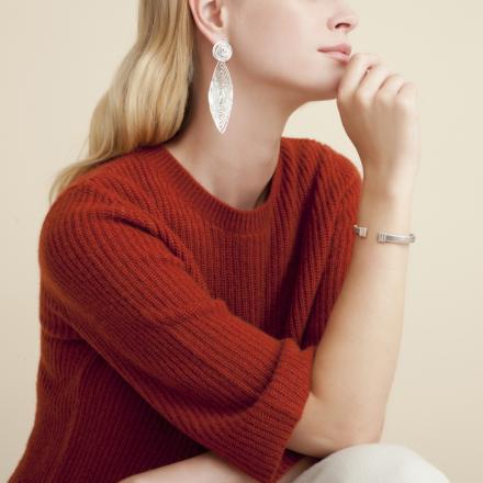 Longwave earrings large size silver
