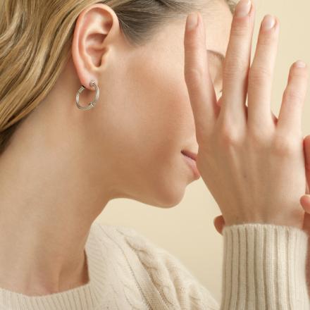 Ariane cabochons hoop earrings mini silver