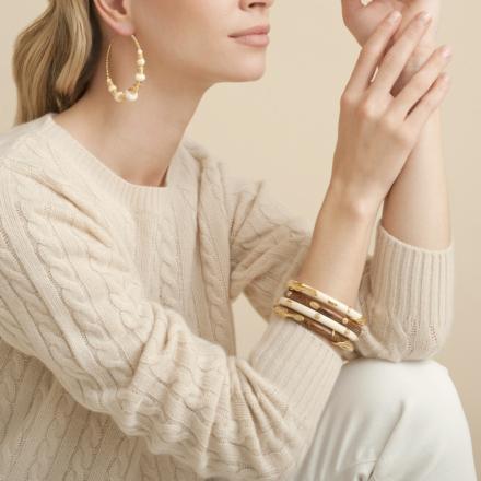 Biba hoop earrings gold - Ivory