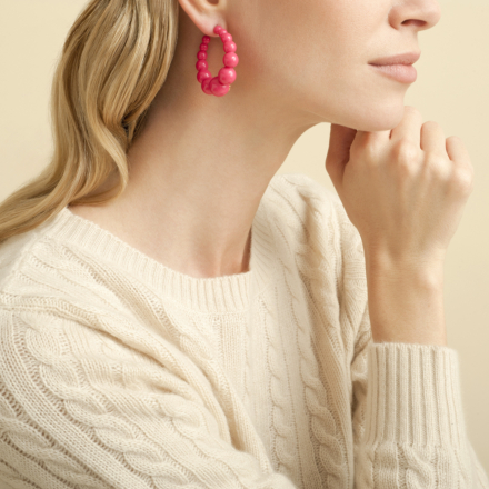 Andy hoop earrings small size acetate gold - Pink - Pink October