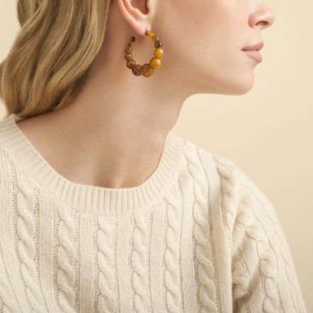 Andy hoop earrings small size acetate gold - Ivory