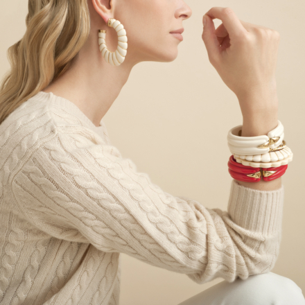 Cyclade earrings gold - Coral