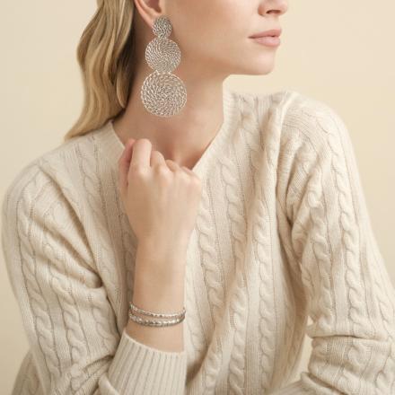 Onde Gourmette double earrings silver