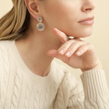 Onde Lucky cabochons earrings mini silver